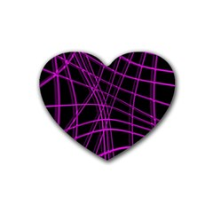 Purple and black warped lines Heart Coaster (4 pack)