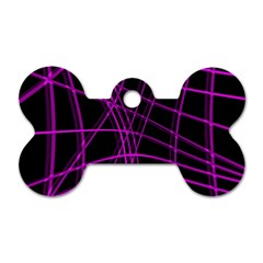 Purple and black warped lines Dog Tag Bone (Two Sides)