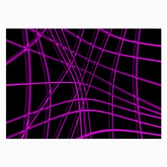 Purple and black warped lines Large Glasses Cloth