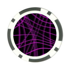 Purple and black warped lines Poker Chip Card Guards