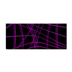 Purple and black warped lines Hand Towel