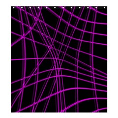 Purple and black warped lines Shower Curtain 66  x 72  (Large)