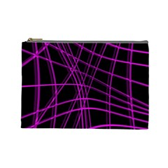 Purple and black warped lines Cosmetic Bag (Large)