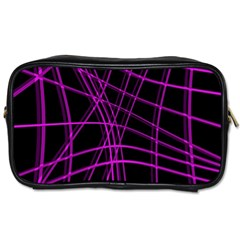 Purple and black warped lines Toiletries Bags 2-Side