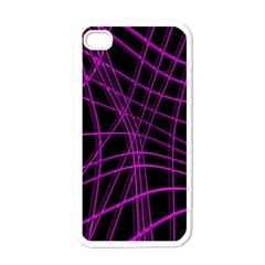 Purple and black warped lines Apple iPhone 4 Case (White)