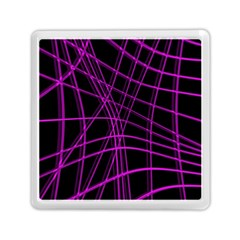 Purple and black warped lines Memory Card Reader (Square)