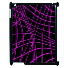 Purple and black warped lines Apple iPad 2 Case (Black)
