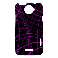 Purple and black warped lines HTC One X Hardshell Case