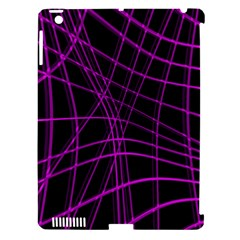 Purple and black warped lines Apple iPad 3/4 Hardshell Case (Compatible with Smart Cover)