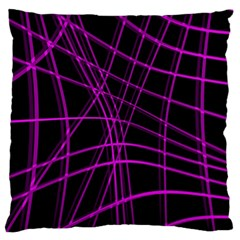 Purple and black warped lines Large Cushion Case (Two Sides)
