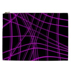Purple and black warped lines Cosmetic Bag (XXL)
