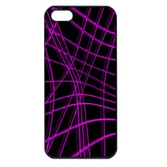 Purple and black warped lines Apple iPhone 5 Seamless Case (Black)