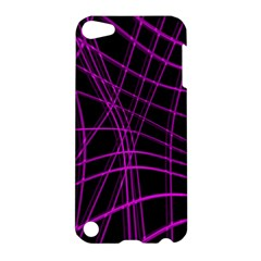 Purple and black warped lines Apple iPod Touch 5 Hardshell Case