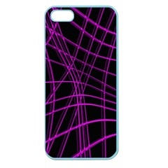Purple and black warped lines Apple Seamless iPhone 5 Case (Color)