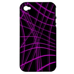 Purple and black warped lines Apple iPhone 4/4S Hardshell Case (PC+Silicone)