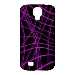 Purple and black warped lines Samsung Galaxy S4 Classic Hardshell Case (PC+Silicone)