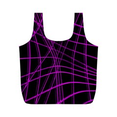 Purple and black warped lines Full Print Recycle Bags (M)