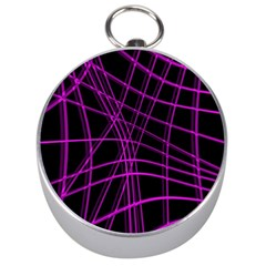 Purple and black warped lines Silver Compasses