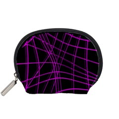 Purple and black warped lines Accessory Pouches (Small)