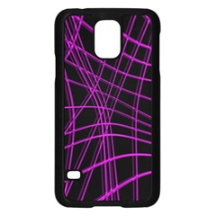 Purple and black warped lines Samsung Galaxy S5 Case (Black)