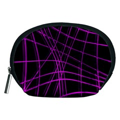 Purple and black warped lines Accessory Pouches (Medium)