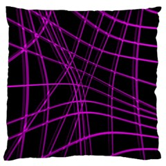 Purple and black warped lines Standard Flano Cushion Case (Two Sides)