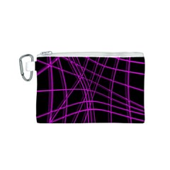 Purple and black warped lines Canvas Cosmetic Bag (S)