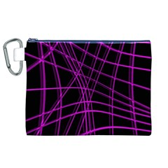 Purple and black warped lines Canvas Cosmetic Bag (XL)