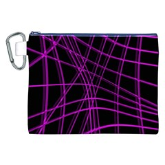 Purple and black warped lines Canvas Cosmetic Bag (XXL)