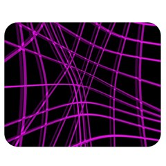 Purple and black warped lines Double Sided Flano Blanket (Medium)