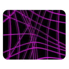 Purple and black warped lines Double Sided Flano Blanket (Large)