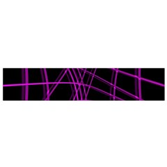 Purple and black warped lines Flano Scarf (Small)