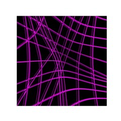 Purple and black warped lines Small Satin Scarf (Square)