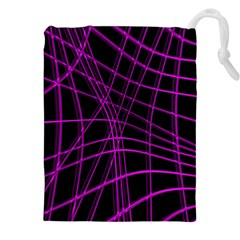 Purple and black warped lines Drawstring Pouches (XXL)
