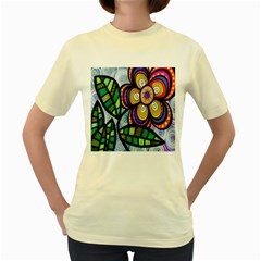Folk Art Flower Women s Yellow T-Shirt