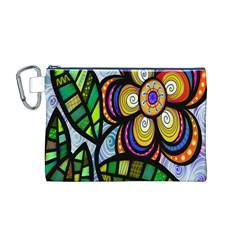 Folk Art Flower Canvas Cosmetic Bag (M)