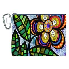 Folk Art Flower Canvas Cosmetic Bag (XXL)