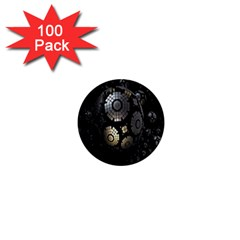 Fractal Sphere Steel 3d Structures 1  Mini Buttons (100 pack)
