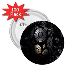 Fractal Sphere Steel 3d Structures 2.25  Buttons (100 pack)