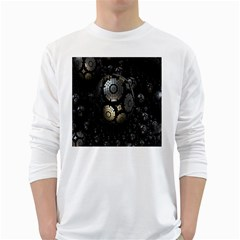 Fractal Sphere Steel 3d Structures White Long Sleeve T-Shirts