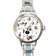 Cute dog Round Italian Charm Watch