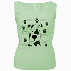 Cute dog Women s Green Tank Top