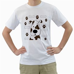 Cute dog Men s T-Shirt (White) (Two Sided)