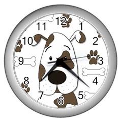 Cute dog Wall Clocks (Silver)
