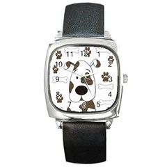 Cute dog Square Metal Watch