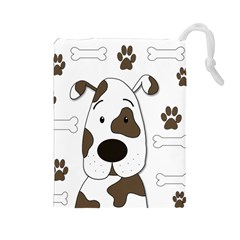 Cute dog Drawstring Pouches (Large)