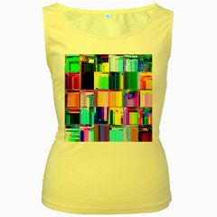 Glitch Art Abstract Women s Yellow Tank Top