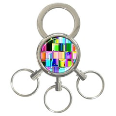Glitch Art Abstract 3-Ring Key Chains