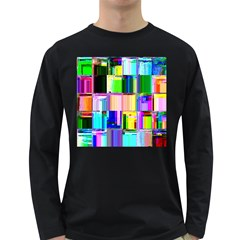 Glitch Art Abstract Long Sleeve Dark T-Shirts