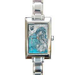 Mother Mary And Infant Jesus Christ  Blue Portrait Old Vintage Drawing Rectangle Italian Charm Watch